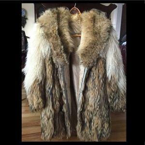 Jackets & Blazers - Vntg MONGOLIAN LAMB Tibetan Sheep COYOTE Coat S/M